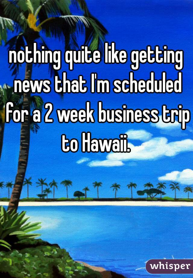 nothing quite like getting news that I'm scheduled for a 2 week business trip to Hawaii.