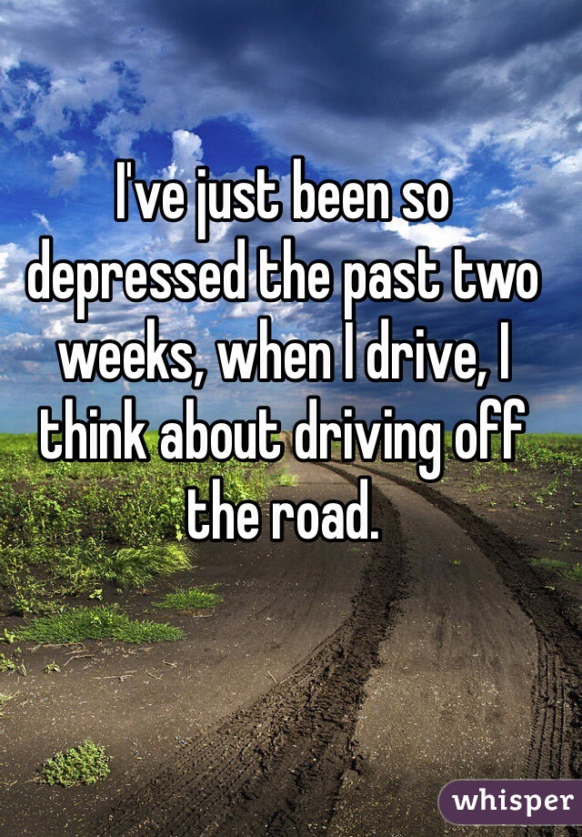 I've just been so depressed the past two weeks, when I drive, I think about driving off the road.