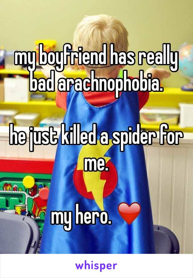 my boyfriend has really bad arachnophobia.  he just killed a spider for me.  my hero. ❤️