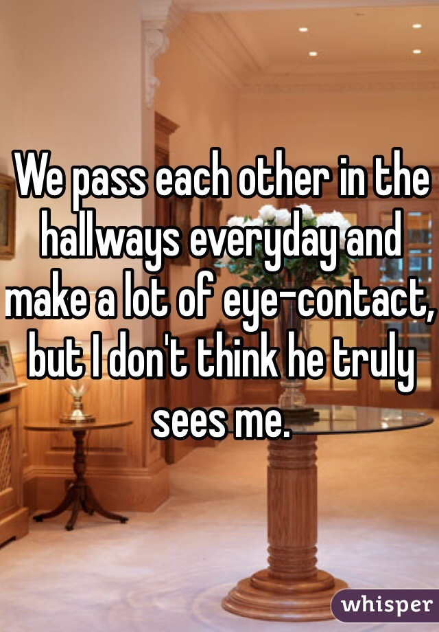 We pass each other in the hallways everyday and make a lot of eye-contact, but I don't think he truly sees me.