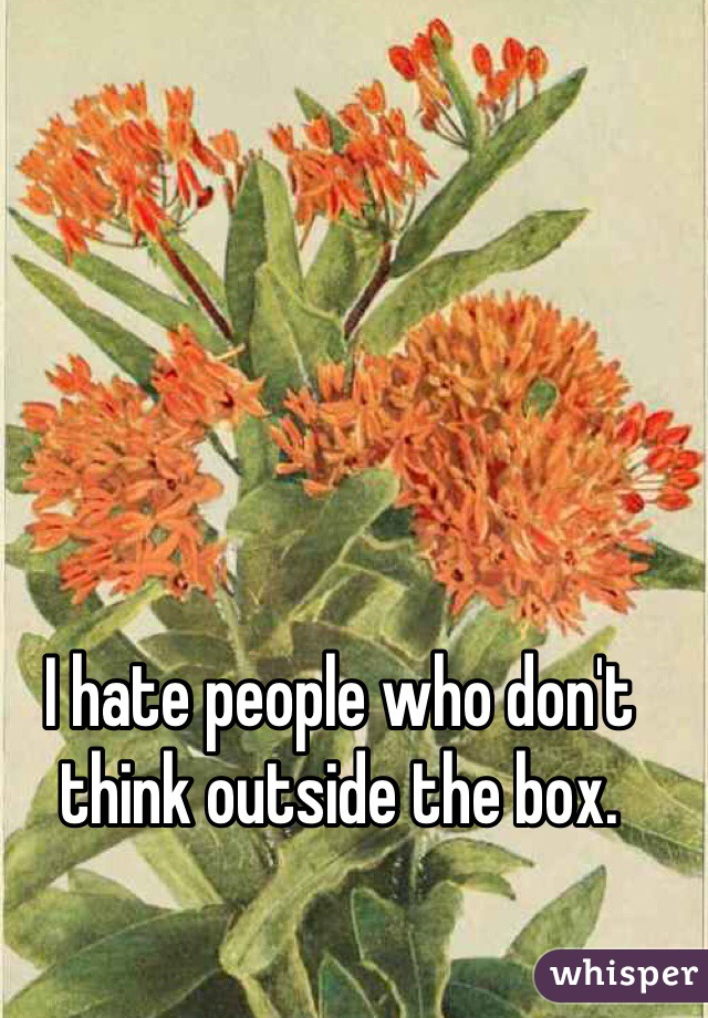 I hate people who don't think outside the box.
