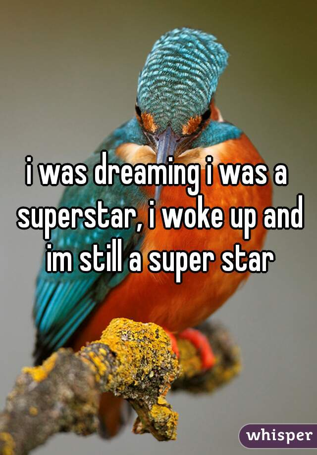 i was dreaming i was a superstar, i woke up and im still a super star