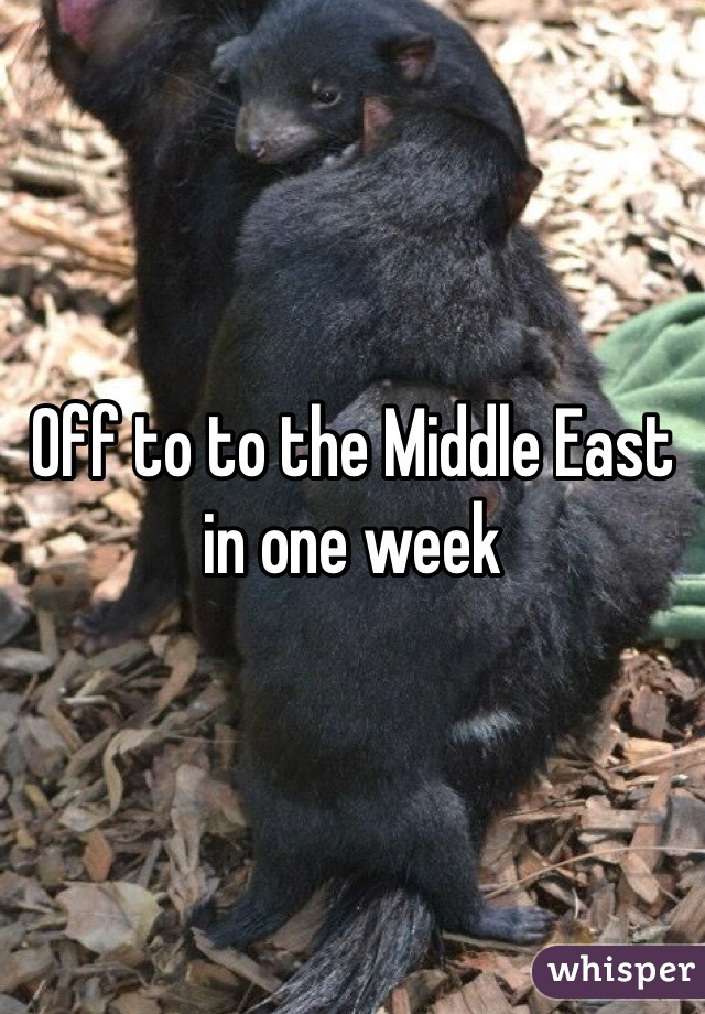 Off to to the Middle East in one week