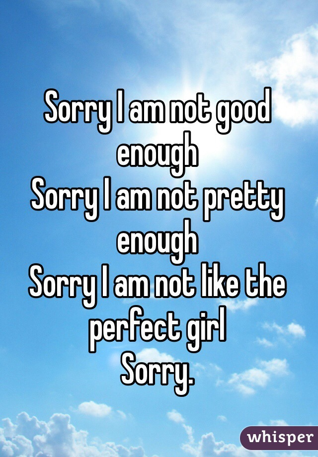 Sorry I am not good enough Sorry I am not pretty enough Sorry I am not like the perfect girl Sorry.