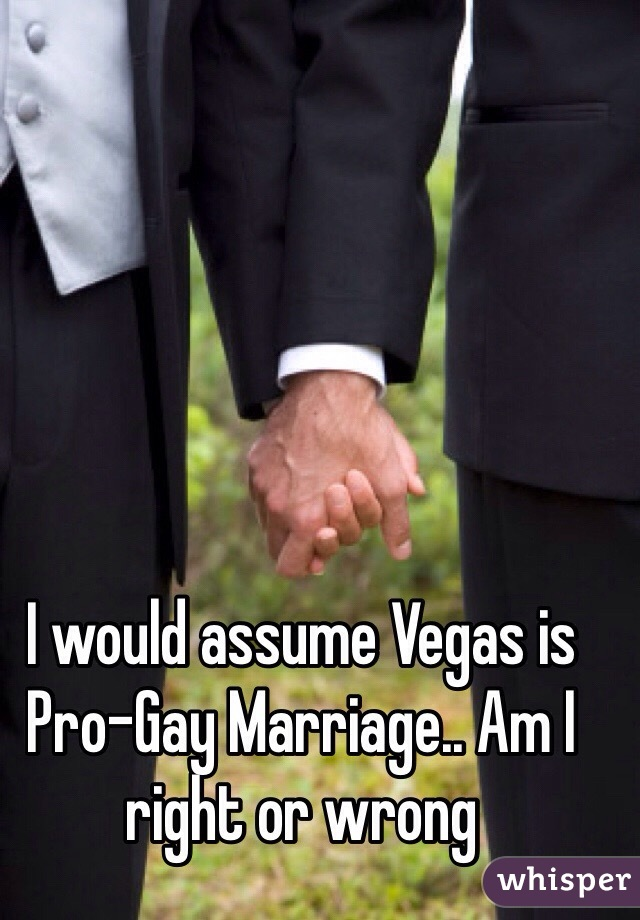 I would assume Vegas is Pro-Gay Marriage.. Am I right or wrong