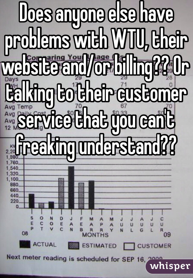 Does anyone else have problems with WTU, their website and/or billing?? Or talking to their customer service that you can't freaking understand??
