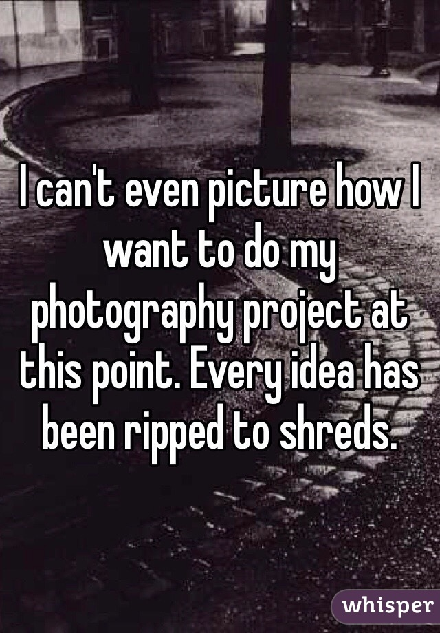 I can't even picture how I want to do my photography project at this point. Every idea has been ripped to shreds.