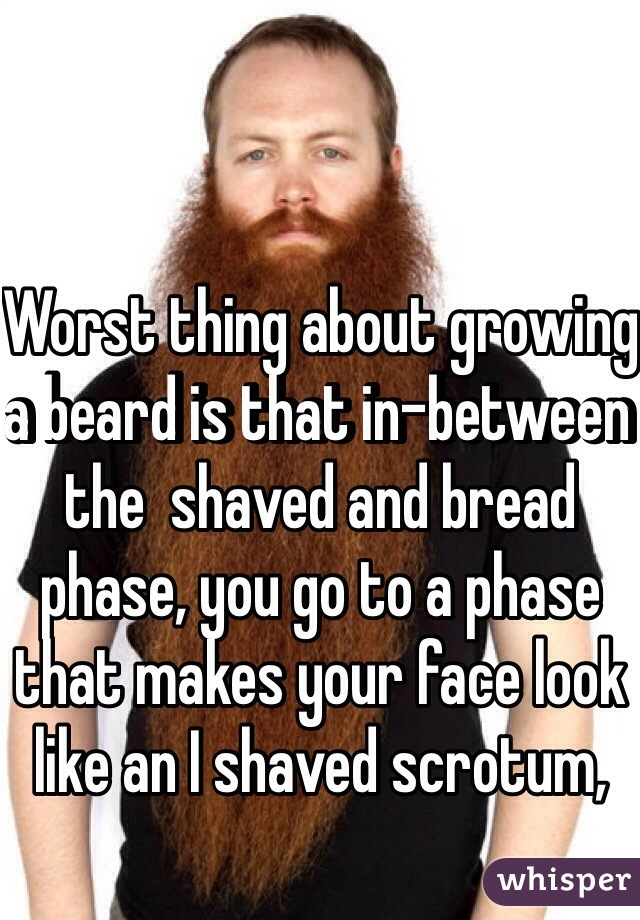 Worst thing about growing a beard is that in-between the  shaved and bread phase, you go to a phase that makes your face look like an I shaved scrotum,