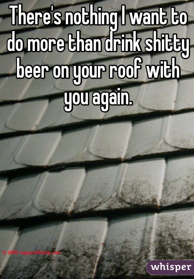 There's nothing I want to do more than drink shitty beer on your roof with you again.