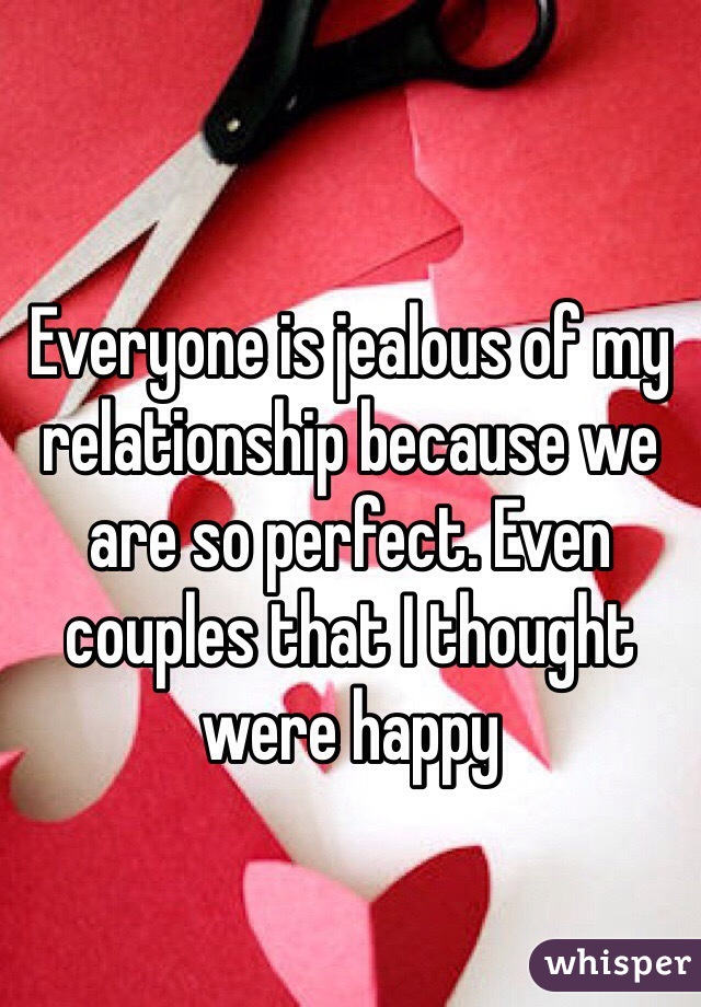 Everyone is jealous of my relationship because we are so perfect. Even couples that I thought were happy