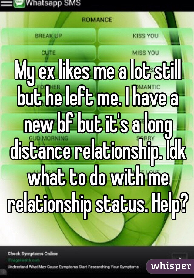 My ex likes me a lot still but he left me. I have a new bf but it's a long distance relationship. Idk what to do with me relationship status. Help?