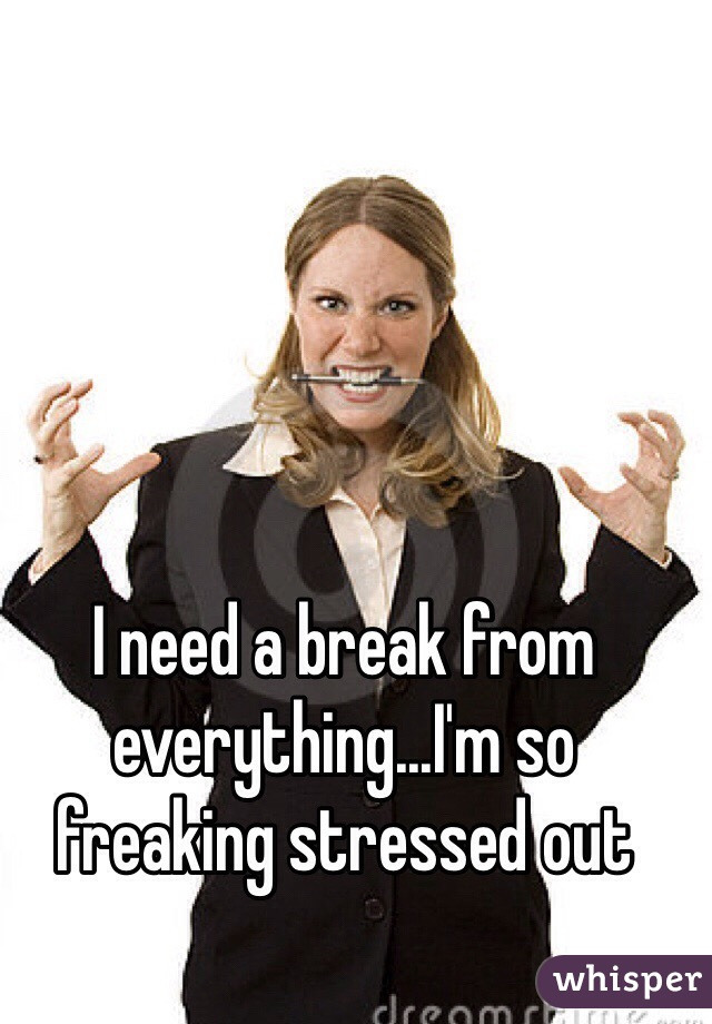 I need a break from everything...I'm so freaking stressed out