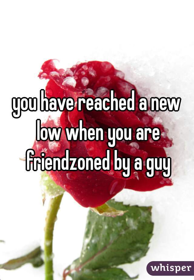 you have reached a new low when you are friendzoned by a guy
