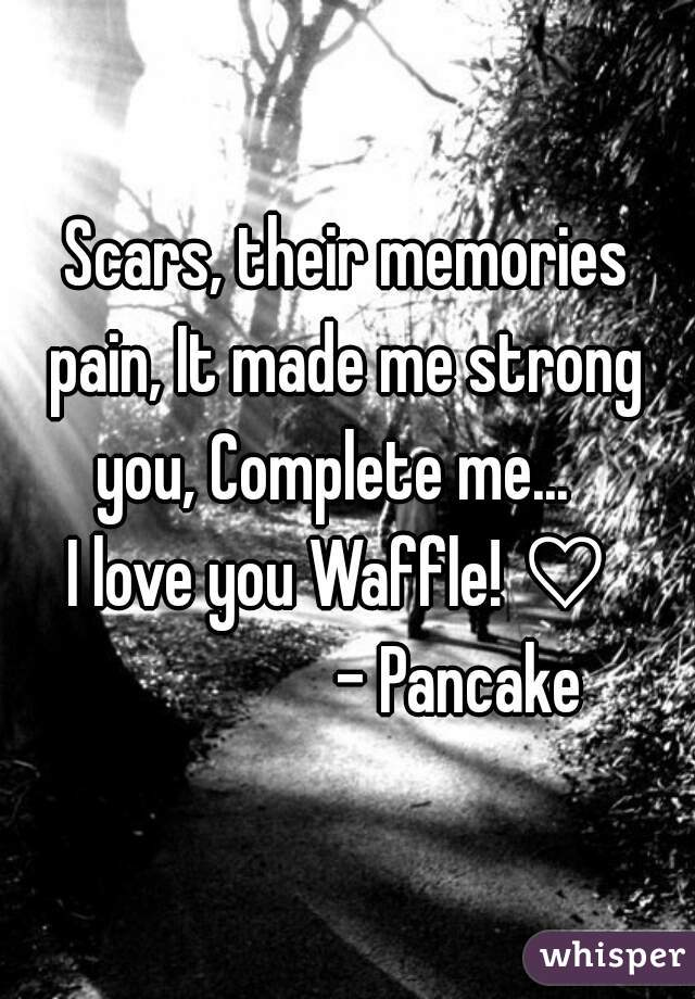 Scars, their memories pain, It made me strong you, Complete me...   I love you Waffle! ♡                  - Pancake