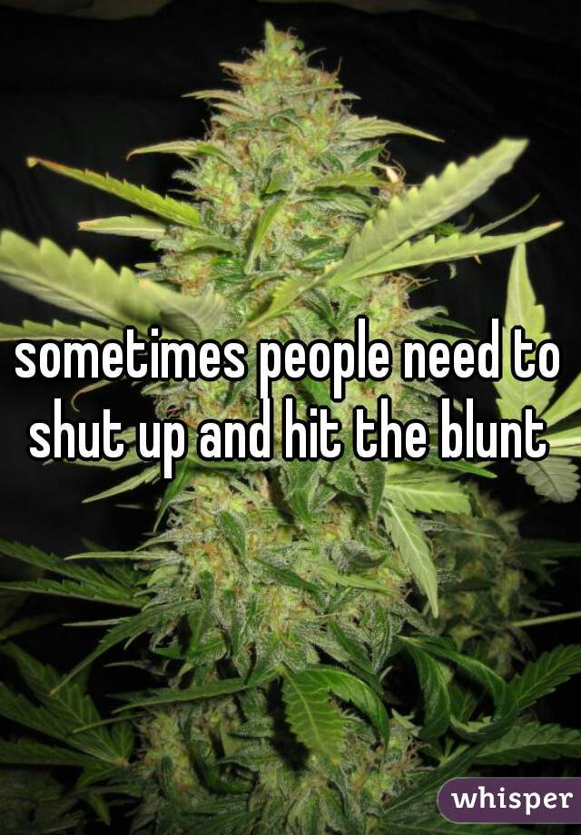 sometimes people need to shut up and hit the blunt