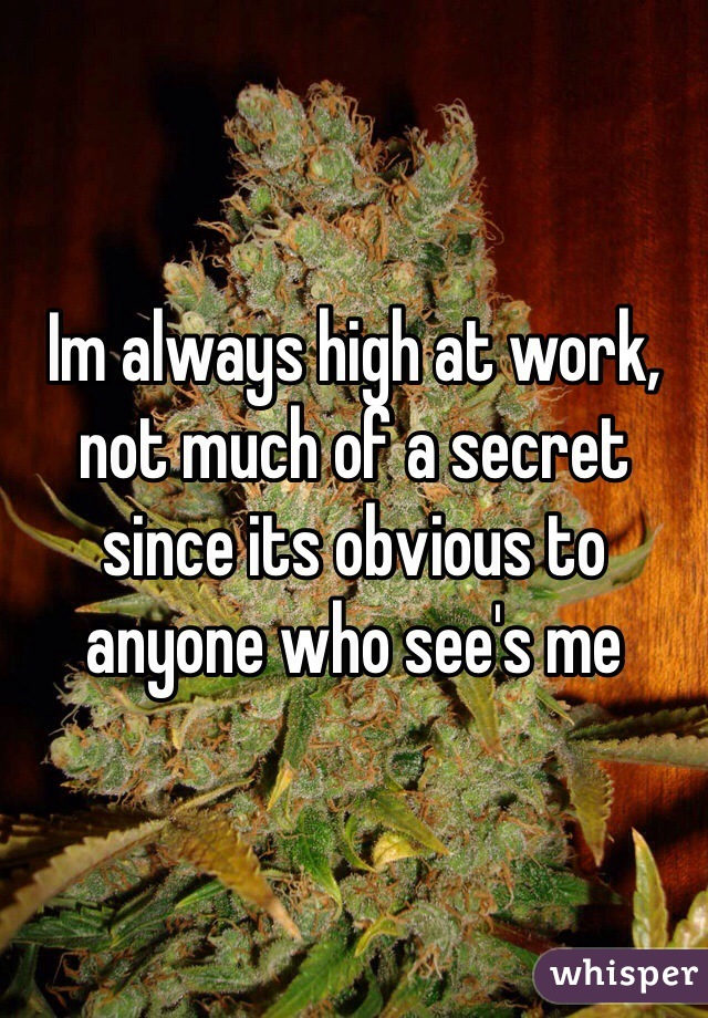 Im always high at work, not much of a secret since its obvious to anyone who see's me