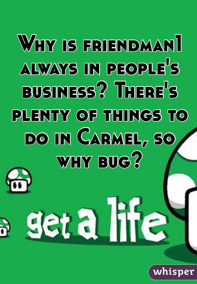 Why is friendman1 always in people's business? There's plenty of things to do in Carmel, so why bug?