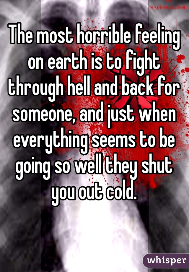 The most horrible feeling on earth is to fight through hell and back for someone, and just when everything seems to be going so well they shut you out cold.