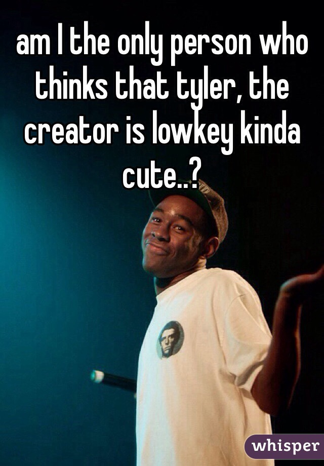 am I the only person who thinks that tyler, the creator is lowkey kinda cute..?