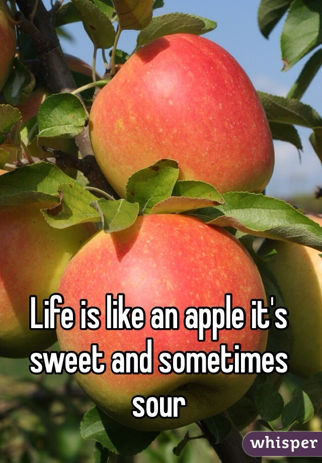 Life is like an apple it's sweet and sometimes sour