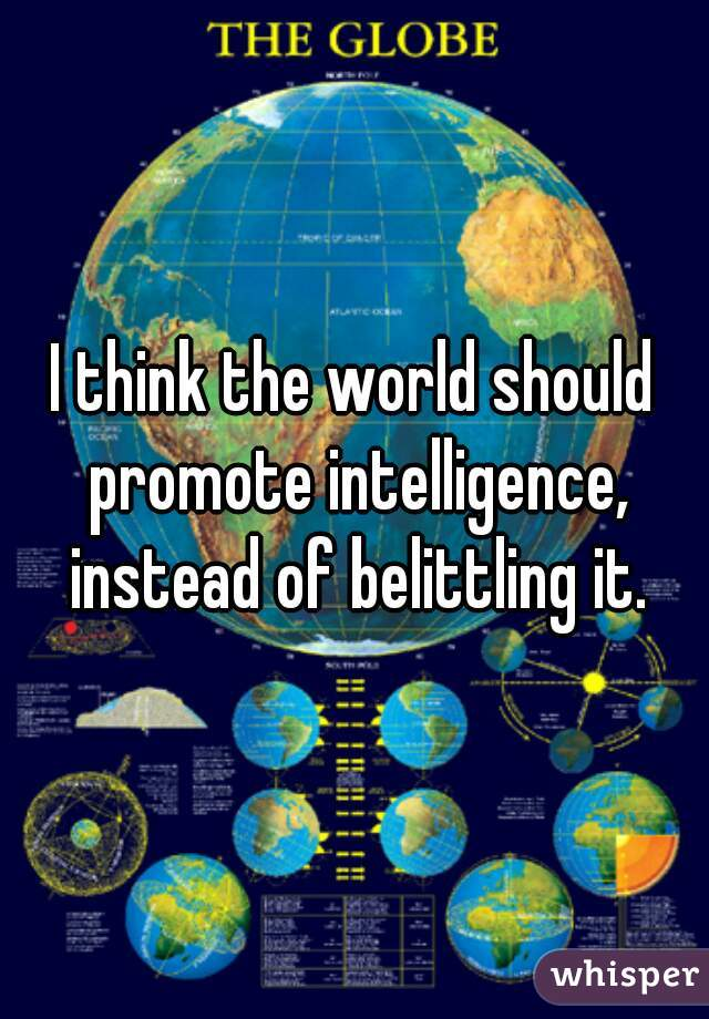 I think the world should promote intelligence, instead of belittling it.