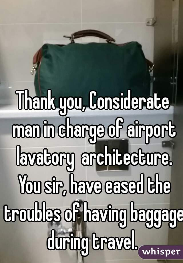 Thank you, Considerate man in charge of airport lavatory  architecture. You sir, have eased the troubles of having baggage during travel.