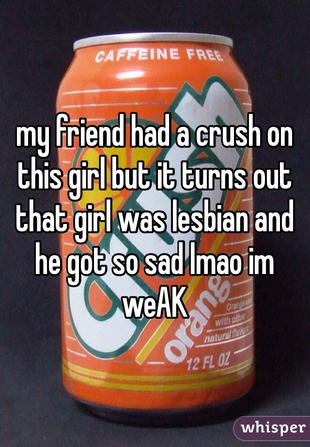 my friend had a crush on this girl but it turns out that girl was lesbian and he got so sad lmao im weAK