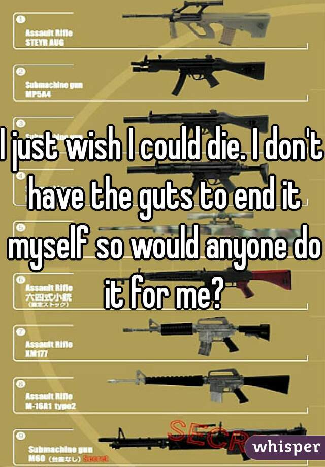 I just wish I could die. I don't have the guts to end it myself so would anyone do it for me?