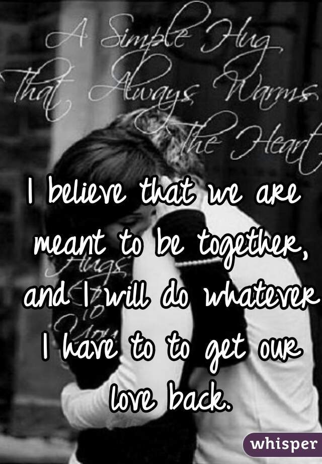 I believe that we are meant to be together, and I will do whatever I have to to get our love back.