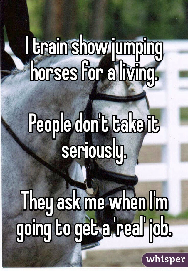 I train show jumping horses for a living.   People don't take it seriously.   They ask me when I'm going to get a 'real' job.