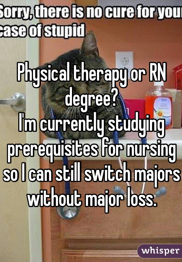 Physical therapy or RN degree? I'm currently studying prerequisites for nursing so I can still switch majors without major loss.