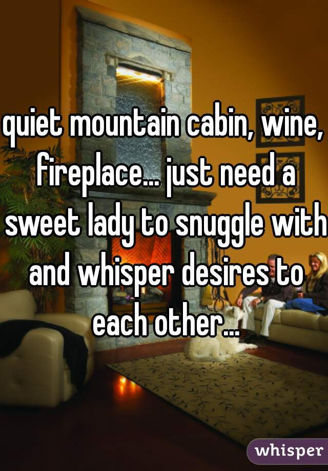 quiet mountain cabin, wine, fireplace... just need a sweet lady to snuggle with and whisper desires to each other...
