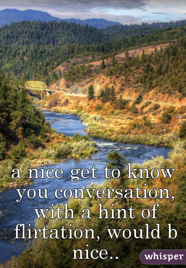 a nice get to know you conversation, with a hint of flirtation, would b nice..