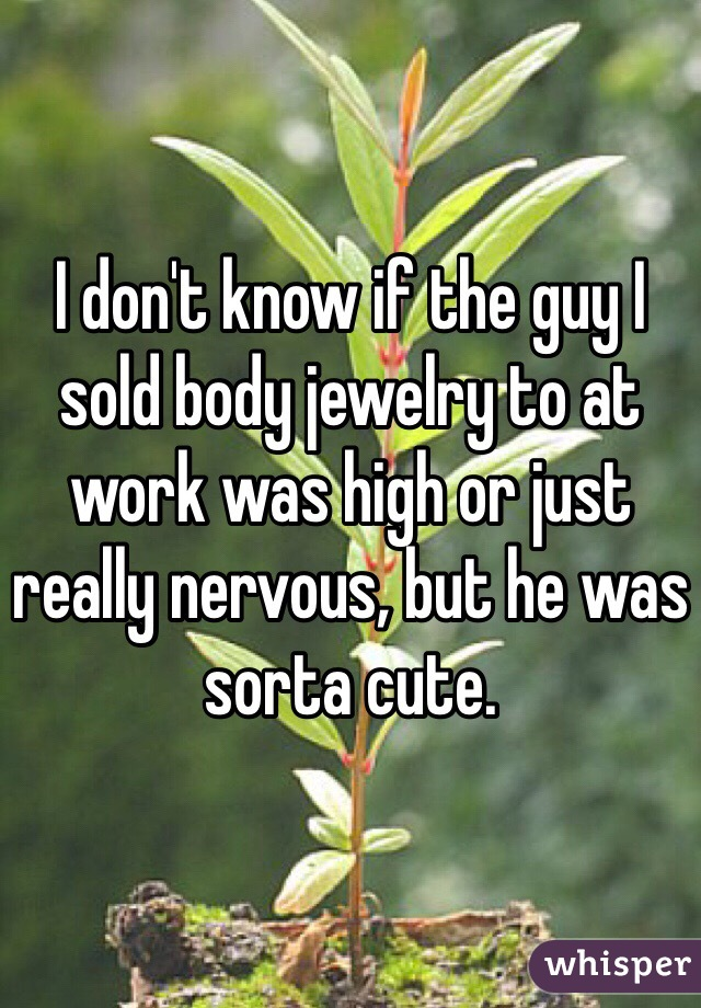 I don't know if the guy I sold body jewelry to at work was high or just really nervous, but he was sorta cute.
