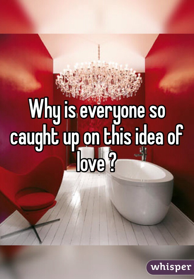 Why is everyone so caught up on this idea of love ?