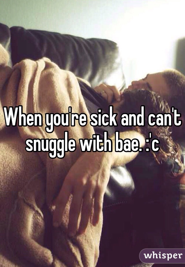 When you're sick and can't snuggle with bae. :'c