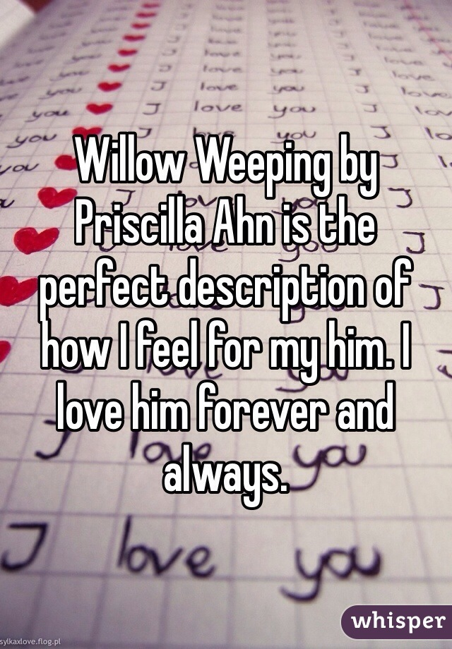 Willow Weeping by Priscilla Ahn is the perfect description of how I feel for my him. I love him forever and always.