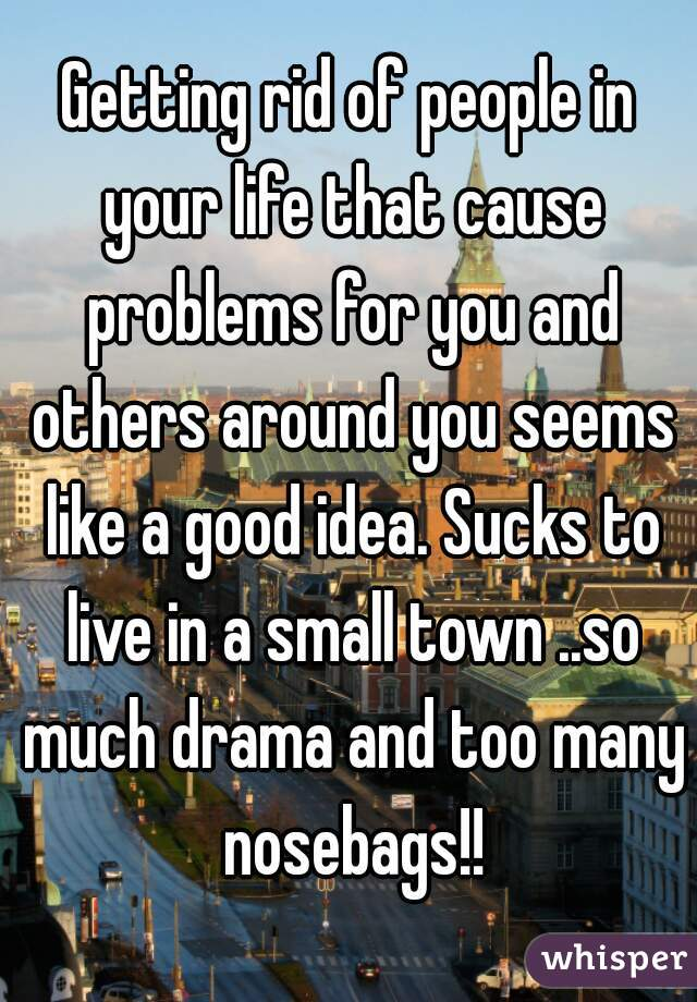 Getting rid of people in your life that cause problems for you and others around you seems like a good idea. Sucks to live in a small town ..so much drama and too many nosebags!!
