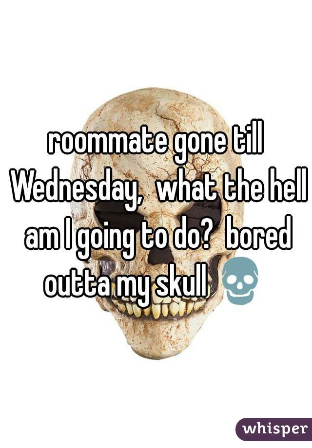 roommate gone till Wednesday,  what the hell am I going to do?  bored outta my skull 💀