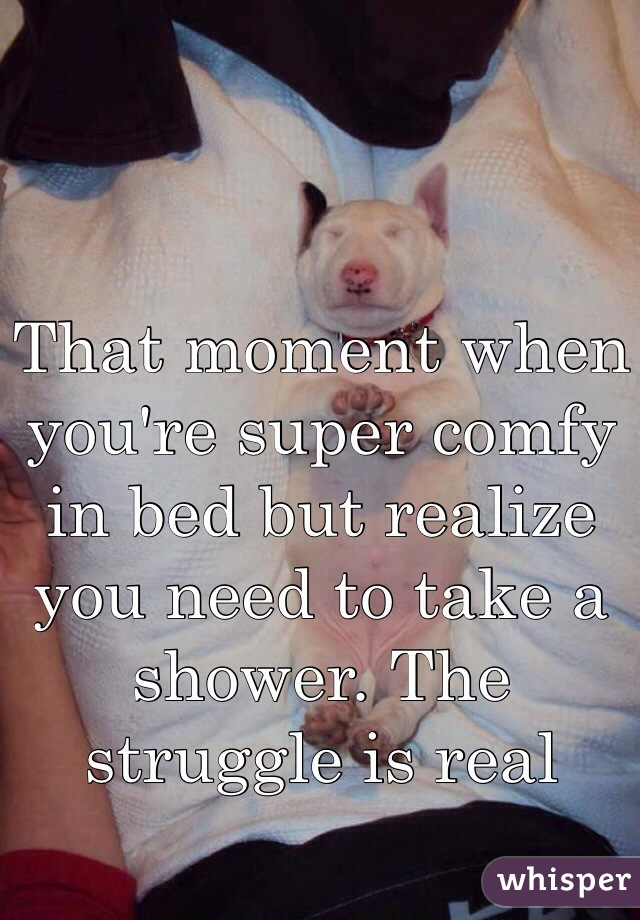 That moment when you're super comfy in bed but realize you need to take a shower. The struggle is real