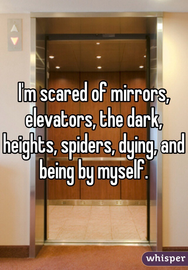 I'm scared of mirrors, elevators, the dark, heights, spiders, dying, and being by myself.