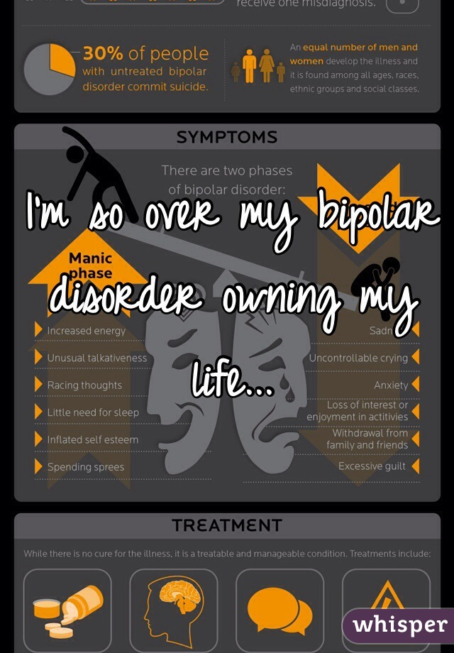 I'm so over my bipolar disorder owning my life...