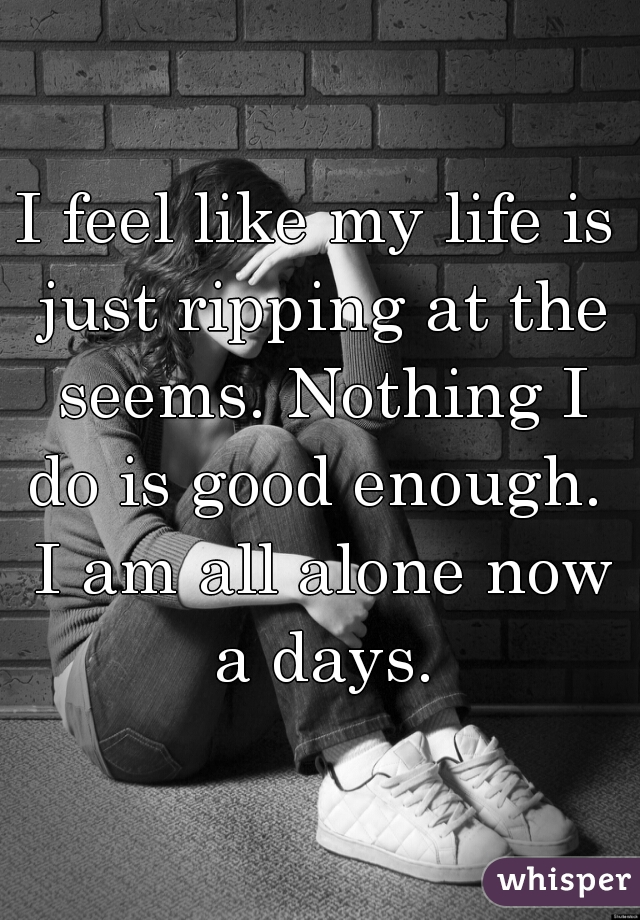 I feel like my life is just ripping at the seems. Nothing I do is good enough.  I am all alone now a days.
