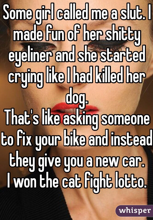 Some girl called me a slut. I made fun of her shitty eyeliner and she started crying like I had killed her dog. That's like asking someone to fix your bike and instead they give you a new car. I won the cat fight lotto.