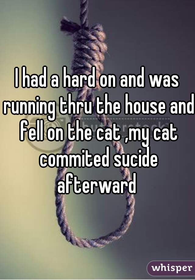 I had a hard on and was running thru the house and fell on the cat ,my cat commited sucide afterward