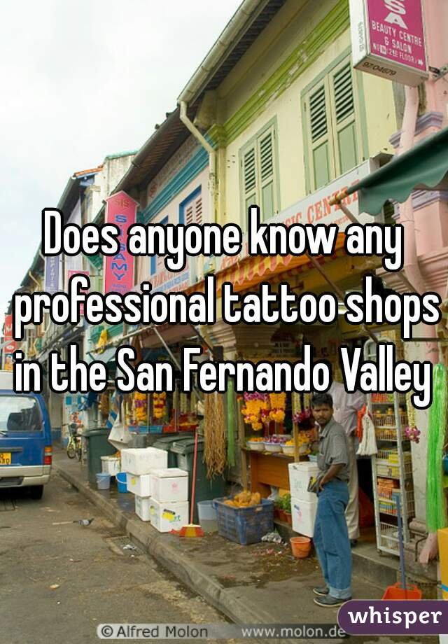 Does anyone know any professional tattoo shops in the San Fernando Valley