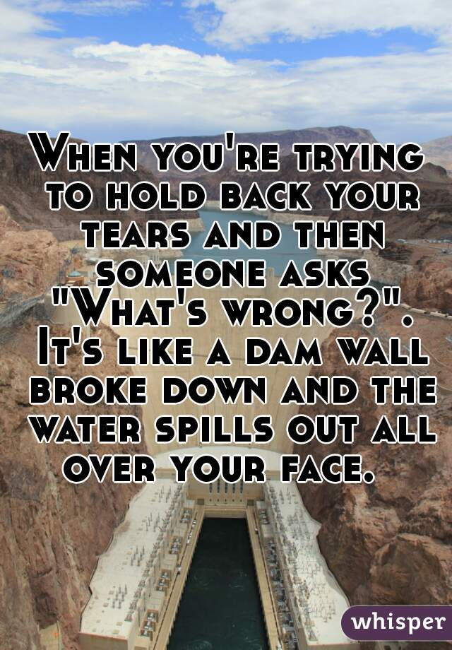 """When you're trying to hold back your tears and then someone asks """"What's wrong?"""". It's like a dam wall broke down and the water spills out all over your face."""