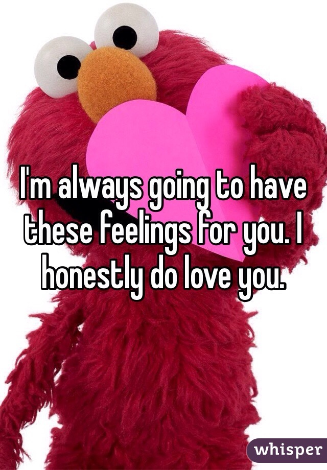 I'm always going to have these feelings for you. I honestly do love you.