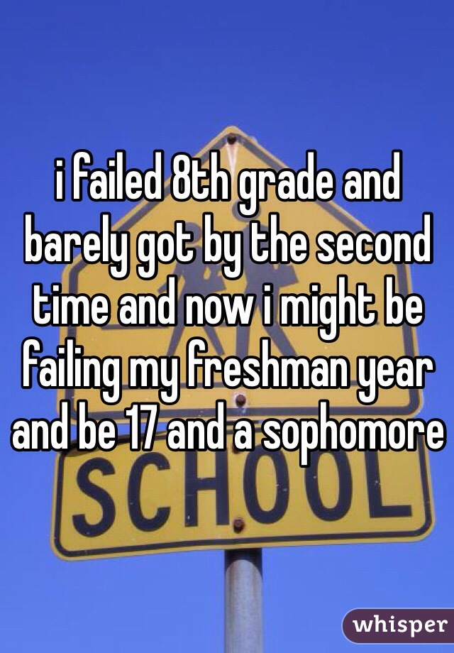 i failed 8th grade and barely got by the second time and now i might be failing my freshman year and be 17 and a sophomore