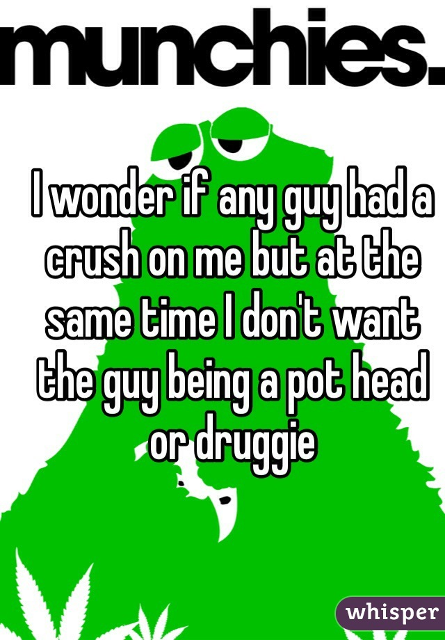 I wonder if any guy had a crush on me but at the same time I don't want the guy being a pot head or druggie